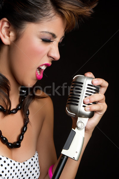 Chanter fille belle femme musique Photo stock © keeweeboy