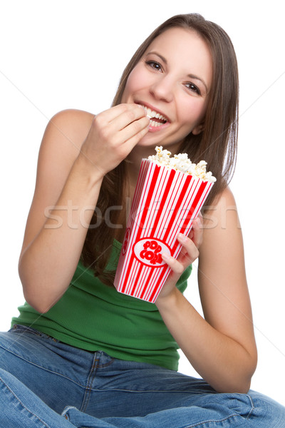 Popcorn fille souriant adolescente manger alimentaire Photo stock © keeweeboy