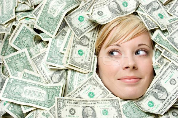 Foto stock: Numerário · dinheiro · mulher · loiro · sorrir · cara