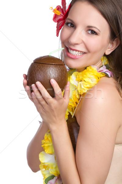 Tropicali donna bere ragazza felice bellezza Foto d'archivio © keeweeboy
