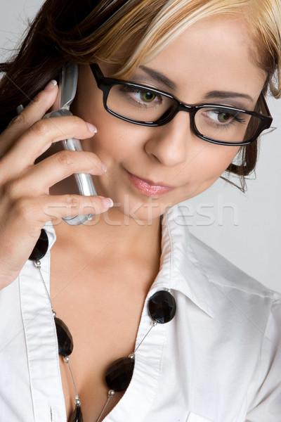Telefon kız güzel koyu esmer kadın güzellik Stok fotoğraf © keeweeboy