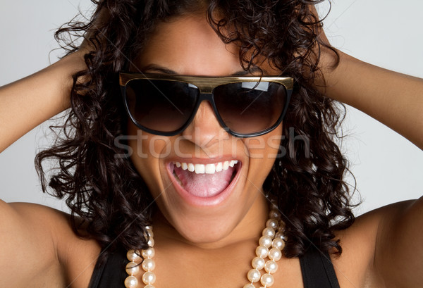 Ridere donna bella donna nera ragazza felice Foto d'archivio © keeweeboy