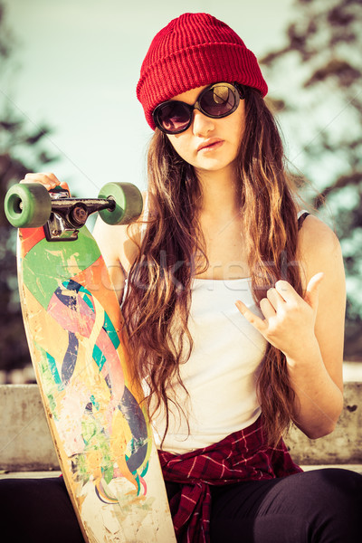 Cool Skater Girl Stock photo © keeweeboy