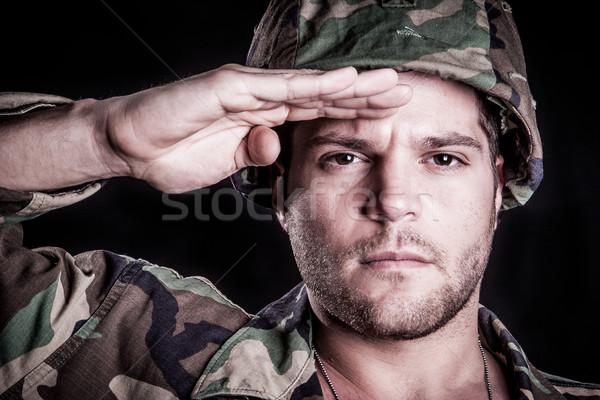 Military Man Salute Stock photo © keeweeboy