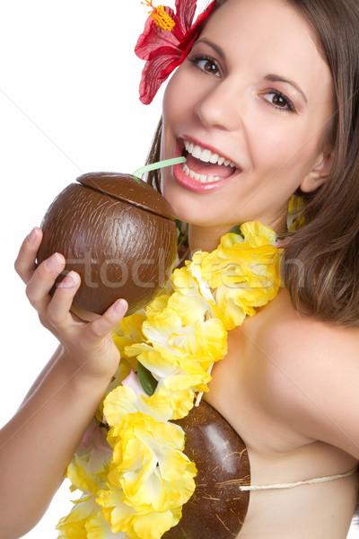 Tropikal kadın içme kız mutlu güzellik Stok fotoğraf © keeweeboy
