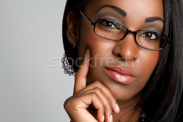 Myślenia czarnej kobiety piękna młodych kobieta dziewczyna Zdjęcia stock © keeweeboy
