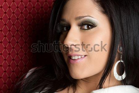 Bella donna sorridente faccia primo piano donna bellezza Foto d'archivio © keeweeboy