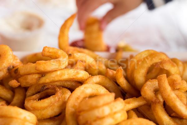 Fries mão comida almoço batatas fritas Foto stock © keeweeboy