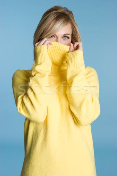 Sweter dziewczyna dość żółty oczy Zdjęcia stock © keeweeboy