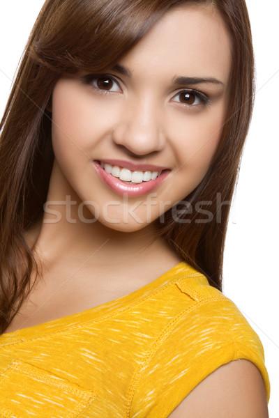 Gülen kız genç güzel koyu esmer model Stok fotoğraf © keeweeboy