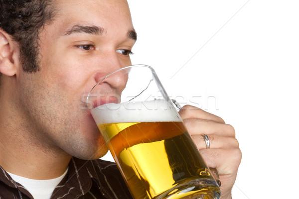 Photo stock: Potable · bière · jeune · homme · homme · verre · fond