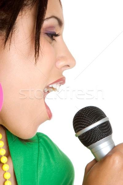 Microphone Singing Girl Stock photo © keeweeboy