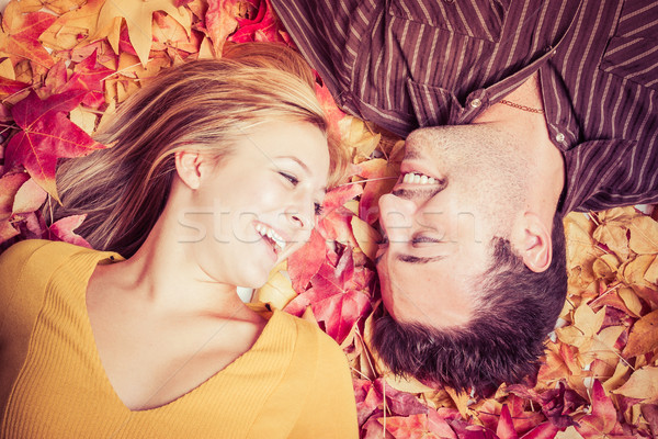 Stock photo: Couple in Leaves