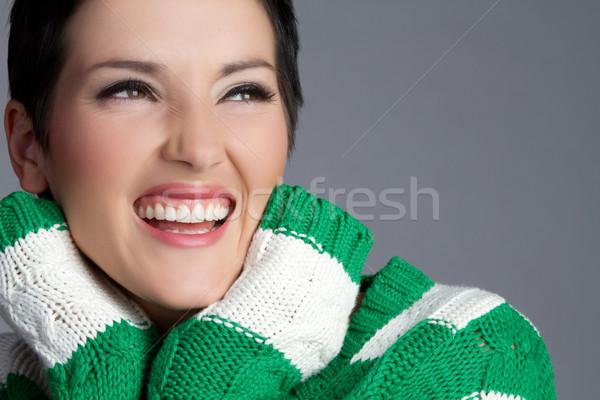 Gülme kadın güzel mutlu genç kadın kız Stok fotoğraf © keeweeboy