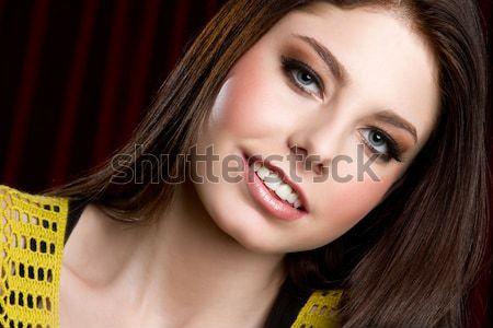 Genç kız gülen güzel mutlu kadın yüz Stok fotoğraf © keeweeboy
