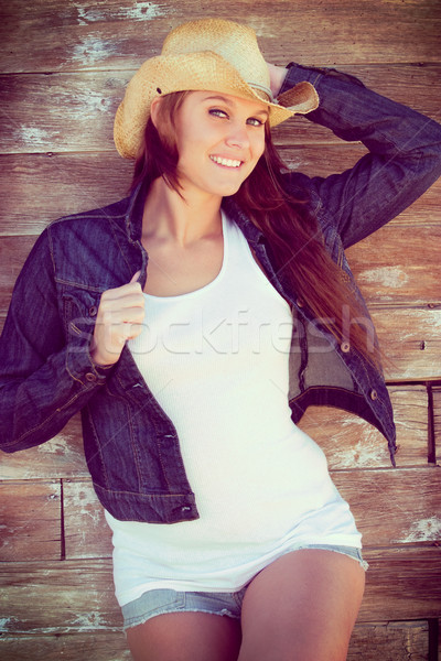 Smiling Cowgirl Wearing Hat Stock photo © keeweeboy