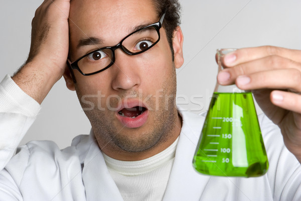Fou scientifique vert liquide homme Photo stock © keeweeboy
