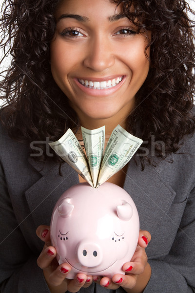 Piggy Bank Woman Stock photo © keeweeboy