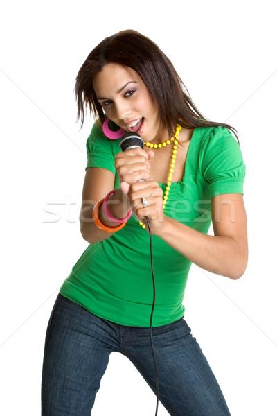 562075teen mädchen singen schönen schwarz musik