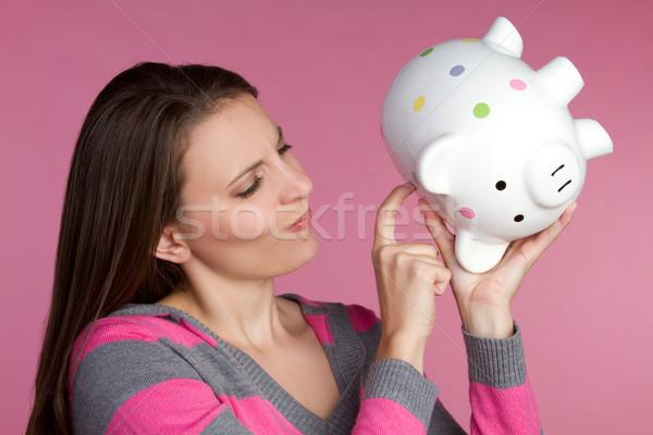 Salvadanaio donna soldi ragazza Foto d'archivio © keeweeboy