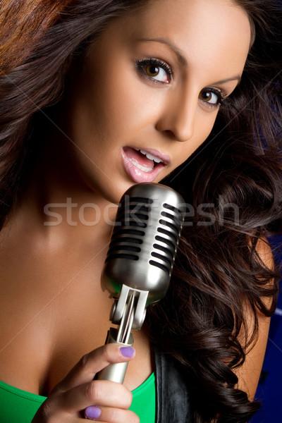 Microfone menina belo vintage cantando mulher Foto stock © keeweeboy