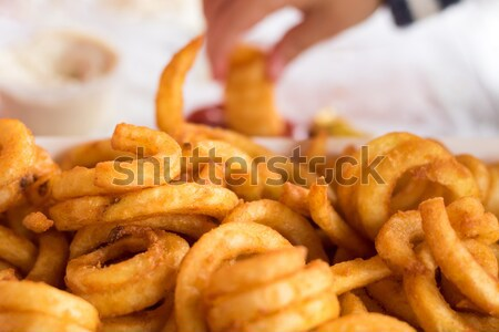 Patates kızartması el gıda öğle yemeği cips Stok fotoğraf © keeweeboy