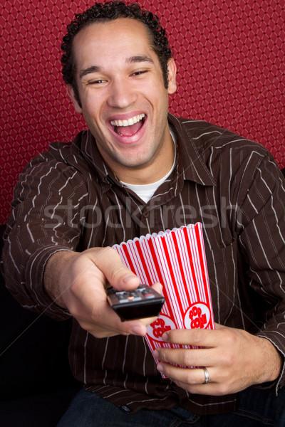 Photo stock: Télévision · homme · manger · popcorn · alimentaire