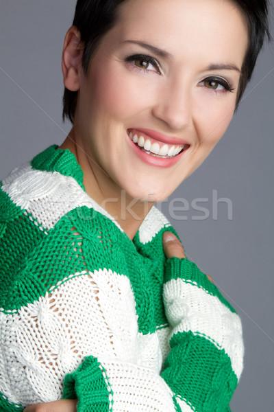 Gülümseyen kadın güzel gülen genç mutlu kadın Stok fotoğraf © keeweeboy
