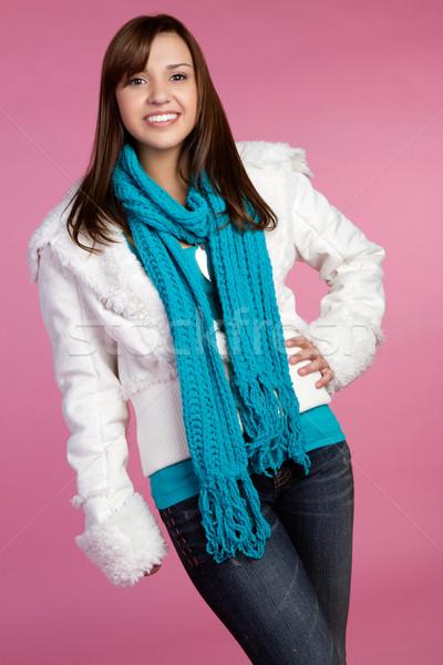 Inverno ragazza sorridere teen moda donna Foto d'archivio © keeweeboy
