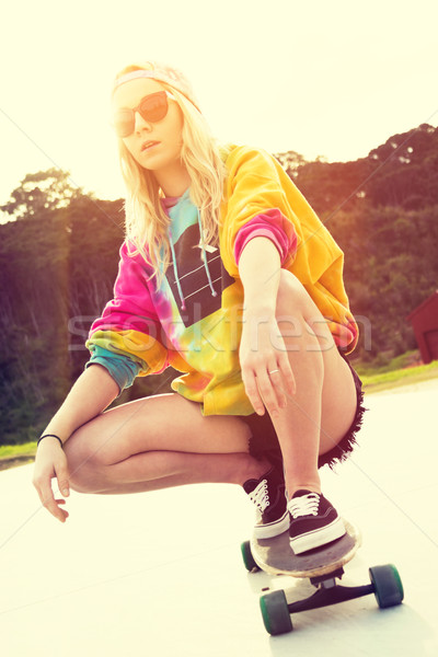 Girl Riding Skateboard Stock photo © keeweeboy