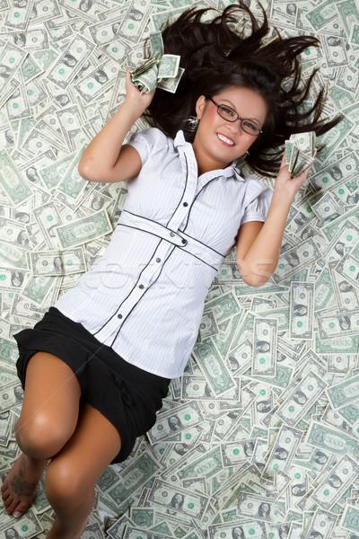 деньги женщина улыбается женщину девушки лице Сток-фото © keeweeboy