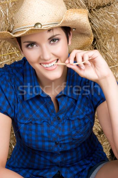 Chica de campo hermosa heno mujer nina feliz Foto stock © keeweeboy