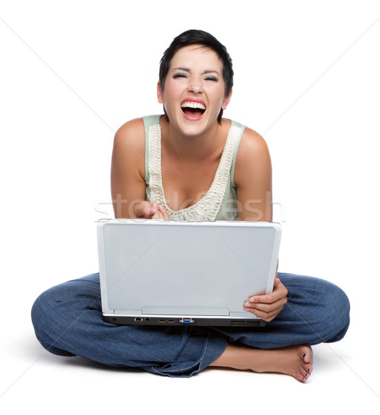 Laughing Laptop Woman Stock photo © keeweeboy