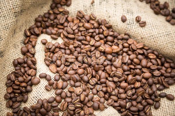Kahve çekirdekleri rustik çuval bezi kahve içmek Stok fotoğraf © keeweeboy