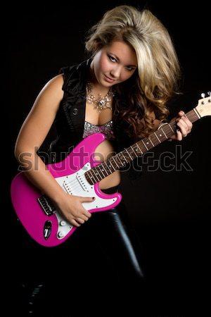 девушки гитаре рокер розовый электрической гитаре Сток-фото © keeweeboy