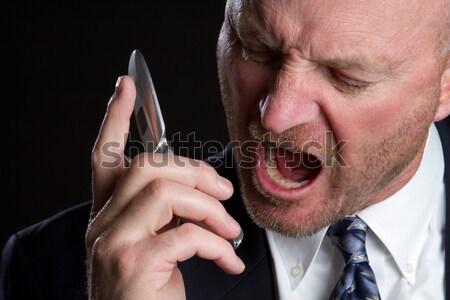 ストックフォト: 悲鳴 · 電話 · 男 · 怒っ · ビジネス · 顔