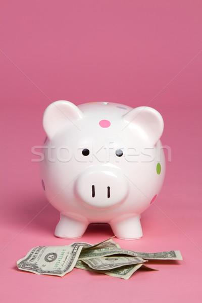 Para domuz pembe kâğıt banka dolar Stok fotoğraf © keeweeboy
