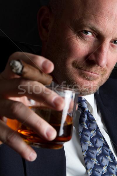 Bere fumare uomo imprenditore sigaro business Foto d'archivio © keeweeboy