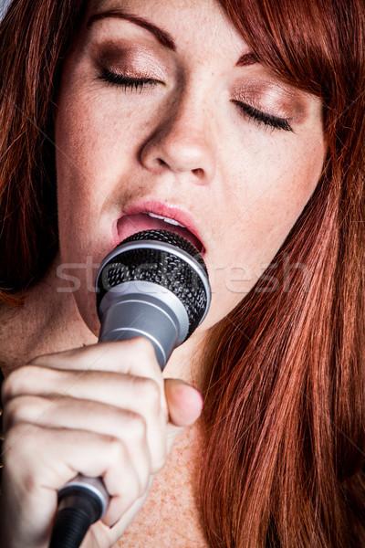 Microphone Singing Woman Stock photo © keeweeboy