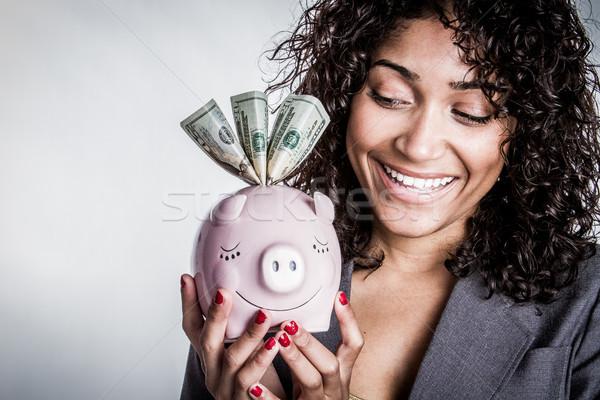 Zdjęcia stock: Kobieta · banku · piggy · ceny · dziewczyna · ręce