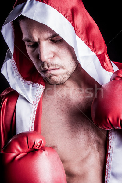 Zawodowych myśliwiec bokser sportowiec człowiek twarz Zdjęcia stock © keeweeboy