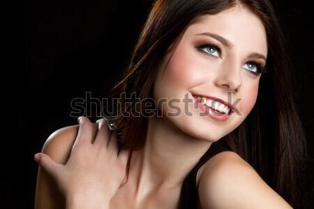 Gülen genç kız güzel mutlu kadın model Stok fotoğraf © keeweeboy
