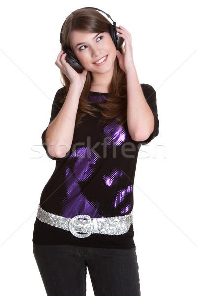 Fejhallgató lány tini zene izolált nő Stock fotó © keeweeboy