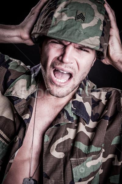 Tengeri férfi félő tart sisak arc Stock fotó © keeweeboy