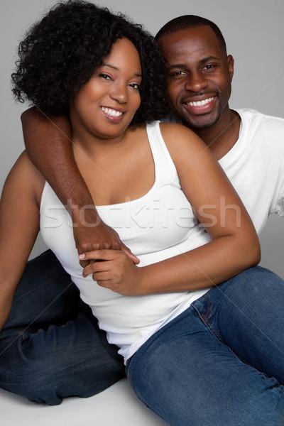 Photo stock: Noir · couple · affectueux · jeunes · main · homme