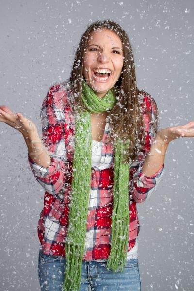 Kar kız güzel kız oynama kadın mutlu Stok fotoğraf © keeweeboy