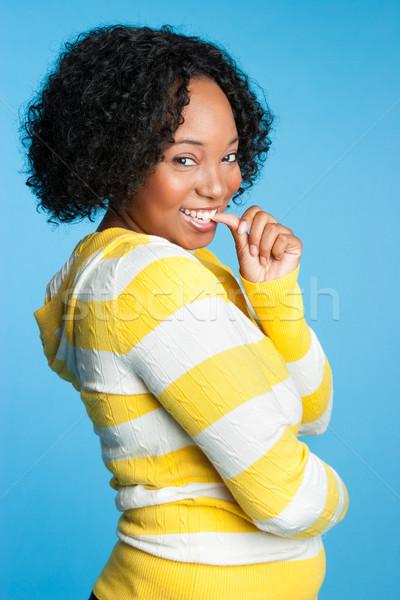 Piękna młodych czarnej kobiety uśmiechnięty kobieta Zdjęcia stock © keeweeboy