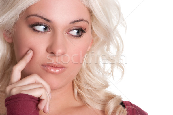 Gondolkodik nő gyönyörű fiatal szőke arc Stock fotó © keeweeboy