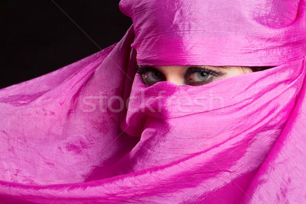 Arabski kobieta różowy chusta oczy Zdjęcia stock © keeweeboy