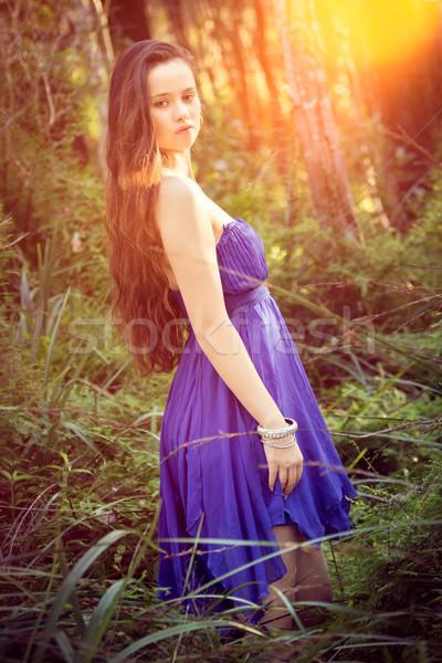 Gyönyörű lány bokor gyönyörű lány nők természet Stock fotó © keeweeboy